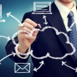 Stock Photo: Businessmwith cloud computing concept