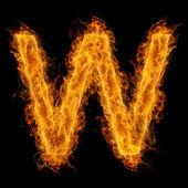 Hořící písmeno w — Stock fotografie