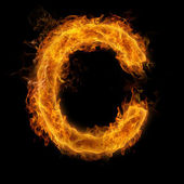 Hořící písmeno c — Stock fotografie