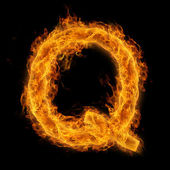 Flaming Letter Q — Stock fotografie