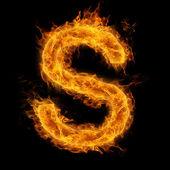 Hořící písmeno s — Stock fotografie