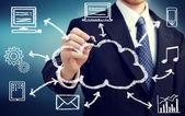 Uomo d'affari con il concetto di cloud computing — Foto Stock