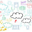 Hand written cloud computing themed pictures — Stockfoto
