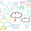 Hand written cloud computing themed pictures — Stok fotoğraf