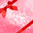 Red Bow and Ribbon with Abstract Lights — Stockfoto