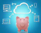 Cloud computing with piggy bank — Stock Photo