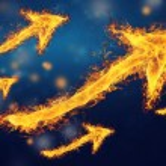 Flaming rising arrows — Stock Photo