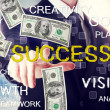Business man with success theme with hundred dollar bills — Stock fotografie