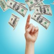 Hand with hundred dollar bills — Stock Photo