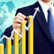 Businessman with Rising Graph — Stockfoto