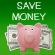 Piggy bank with hundred dollar bills — ストック写真