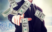 Business man with hundred dollar bills — Stock Photo