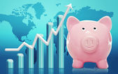 Piggy bank with rising bar graph — Stock Photo
