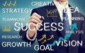 Empresário, escrevendo textos com temas de negócios — Foto Stock