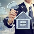 Stock Photo: Cloud Computing at Home Concept