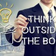 Businessman with think oustide the box — Stock Photo