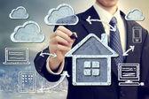 Hardlopen en sport conceptel cloud computing en casa concepto — Foto de Stock