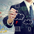 Stock Photo: Businessmwith cloud computing themed pictures