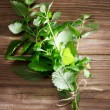 Fresh Mint Bunch on Rustic Table — Foto Stock