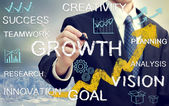 Business man with concepts representing growth, and success — Stockfoto