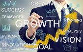 Zakenman met concepten die groei en succes vertegenwoordigt — Stockfoto