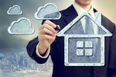 云计算在家里的概念 — 图库照片