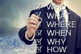 Empresario con quién qué dónde cuando cómo y por qué — Foto de Stock