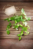 Fresh Mint on Rustic Table with Tag — Stock Photo