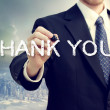Business man drawing THANK YOU — Stok fotoğraf