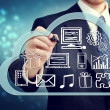 Foto Stock: Businessmwith cloud computing concept
