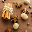 Star anise, cinnamon sticks, nutmeg and coffee beans — Stock Photo