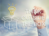 Think outside the box concept image — Stockfoto