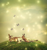 Kangaroos in a fantasy landscape — Stock Photo