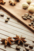 Star anise, coffee beans, nutmeg and cinnamon sticks — ストック写真