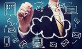 Businessman with cloud computing concept — Стоковое фото