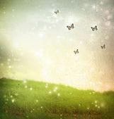 Vlinders in een fantasie-landschap — Stockfoto
