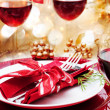 Foto Stock: Decorated Christmas Dinner Table