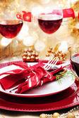 Mesa de jantar de natal decorada — Foto Stock