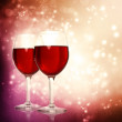 Glasses of Red Wine on a Sparkling Background — Stock Photo
