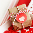 Handmade small gift box with heart — Stock Photo
