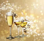 Glasses on Golden Sparkling Background — Stok fotoğraf