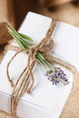 Homemade Giftbox with Lavender Sprig — Stock Photo