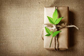 Present box rustic style — Stock Photo