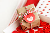 Handmade small gift box with heart — Стоковое фото
