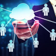 Business man with cloud computing and connectivity concept — Stock Photo