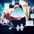 Business man with connectivity through cloud computing concept — Stok fotoğraf