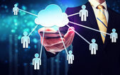 Business man with cloud computing and connectivity concept — Stok fotoğraf