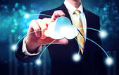 Business man with blue cloud computing concept — Stock Photo