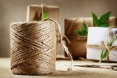 Hemp cord spool with gift box — Stock Photo
