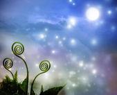Rostlina úponky na noční fantazie pozadí — Stock fotografie